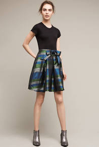 Gatinet Bowed Skirt, Green - style: full/prom skirt; fit: loose/voluminous; waist: high rise; waist detail: belted waist/tie at waist/drawstring; predominant colour: dark green; occasions: evening, occasion, creative work; length: just above the knee; fibres: silk - mix; hip detail: adds bulk at the hips; pattern type: fabric; texture group: woven light midweight; pattern size: big & busy (bottom); pattern: horizontal stripes (bottom); multicoloured: multicoloured; season: a/w 2016; wardrobe: highlight