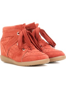 étoile Bobby Suede Wedge Sneakers - predominant colour: bright orange; occasions: casual; material: suede; heel height: mid; heel: wedge; toe: round toe; boot length: ankle boot; finish: plain; pattern: plain; shoe detail: platform with tread; style: lace ups; season: a/w 2016; wardrobe: highlight