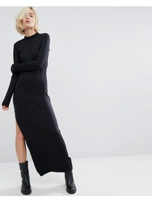 High Neck Maxi Dress With Side Split Black - fit: tight; pattern: plain; style: maxi dress; length: ankle length; predominant colour: black; occasions: evening; fibres: polyester/polyamide - stretch; neckline: crew; hip detail: slits at hip; sleeve length: long sleeve; sleeve style: standard; texture group: jersey - clingy; pattern type: fabric; season: a/w 2016; wardrobe: event