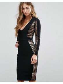 Peace + Love Fishnet Panel Bandage Midi Dress Black - neckline: plunge; fit: tight; pattern: plain; style: bodycon; hip detail: fitted at hip; secondary colour: nude; predominant colour: black; occasions: evening; length: on the knee; fibres: polyester/polyamide - stretch; sleeve length: long sleeve; sleeve style: standard; texture group: jersey - clingy; pattern type: fabric; embellishment: lace; season: a/w 2016; wardrobe: event