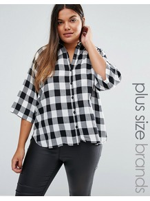 Plus Katta Shirt In Check Black/White - neckline: shirt collar/peter pan/zip with opening; pattern: checked/gingham; style: shirt; predominant colour: white; secondary colour: black; occasions: casual, creative work; length: standard; fibres: cotton - 100%; fit: body skimming; sleeve length: 3/4 length; sleeve style: standard; texture group: cotton feel fabrics; pattern type: fabric; season: a/w 2016; wardrobe: highlight
