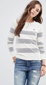 Summer Striped Jumper C White Blue Strip - pattern: horizontal stripes; style: standard; predominant colour: light grey; occasions: casual, work, creative work; length: standard; fibres: cotton - mix; fit: slim fit; neckline: crew; sleeve length: long sleeve; sleeve style: standard; texture group: knits/crochet; pattern type: knitted - fine stitch; pattern size: standard; season: a/w 2016; wardrobe: highlight