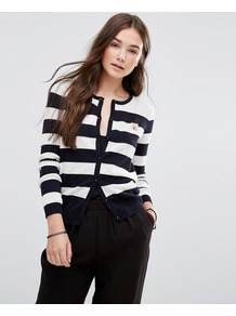 Striped Button Up Cardigan E Grey - neckline: round neck; pattern: horizontal stripes; predominant colour: black; occasions: casual, work, creative work; length: standard; style: standard; fibres: cotton - 100%; fit: slim fit; sleeve length: long sleeve; sleeve style: standard; texture group: knits/crochet; pattern type: knitted - fine stitch; pattern size: big & busy (top); season: a/w 2016; wardrobe: highlight