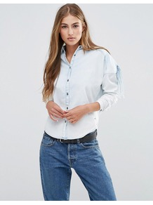 Cool Indigo Shirt 50 Indigo - neckline: shirt collar/peter pan/zip with opening; pattern: plain; style: shirt; predominant colour: pale blue; occasions: casual, creative work; length: standard; fibres: cotton - mix; fit: body skimming; sleeve length: 3/4 length; sleeve style: standard; texture group: cotton feel fabrics; pattern type: fabric; pattern size: standard; season: a/w 2016; wardrobe: highlight
