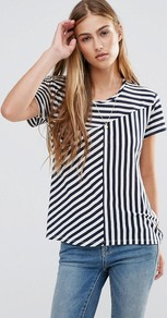 Mixed Striped T Shirt A Combo A - pattern: striped; style: t-shirt; predominant colour: white; secondary colour: black; occasions: casual; length: standard; fibres: viscose/rayon - stretch; fit: body skimming; neckline: crew; sleeve length: short sleeve; sleeve style: standard; pattern type: fabric; texture group: jersey - stretchy/drapey; multicoloured: multicoloured; season: a/w 2016; wardrobe: highlight