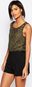 Lace Sleeveless Top Black Olive - neckline: round neck; pattern: plain; sleeve style: sleeveless; style: vest top; predominant colour: khaki; occasions: casual; length: standard; fibres: polyester/polyamide - 100%; fit: body skimming; sleeve length: sleeveless; texture group: lace; pattern type: fabric; embellishment: lace; season: a/w 2016; wardrobe: highlight