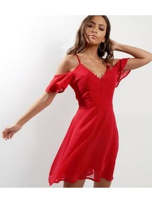 Red Cold Shoulder Button Trim Skater Dress - style: tea dress; length: mid thigh; neckline: low v-neck; pattern: plain; waist detail: fitted waist; predominant colour: true red; fit: fitted at waist & bust; fibres: polyester/polyamide - 100%; occasions: occasion; hip detail: soft pleats at hip/draping at hip/flared at hip; shoulder detail: cut out shoulder; sleeve length: short sleeve; sleeve style: standard; texture group: sheer fabrics/chiffon/organza etc.; pattern type: fabric; season: a/w 2016; wardrobe: event
