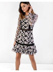 Lace Floral Skater Dress - style: shift; length: mid thigh; fit: tailored/fitted; waist detail: embellishment at waist/feature waistband; predominant colour: black; occasions: evening, occasion; fibres: polyester/polyamide - 100%; neckline: crew; hip detail: soft pleats at hip/draping at hip/flared at hip; sleeve length: long sleeve; sleeve style: standard; texture group: lace; pattern type: fabric; pattern: patterned/print; secondary colour: dusky pink; season: a/w 2016; wardrobe: event