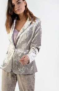 Velvet Jacket - pattern: plain; style: single breasted blazer; length: below the bottom; collar: standard lapel/rever collar; predominant colour: light grey; occasions: evening, occasion; fit: tailored/fitted; fibres: polyester/polyamide - stretch; sleeve length: long sleeve; sleeve style: standard; collar break: medium; pattern type: fabric; texture group: velvet/fabrics with pile; season: a/w 2016; wardrobe: event; trends: velvet