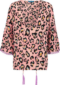 Tassled Printed Silk Top Blush - neckline: low v-neck; length: below the bottom; predominant colour: pink; occasions: casual, creative work; style: top; fibres: silk - 100%; fit: body skimming; sleeve length: 3/4 length; sleeve style: standard; texture group: silky - light; pattern type: fabric; pattern: animal print; multicoloured: multicoloured; season: a/w 2016; wardrobe: highlight