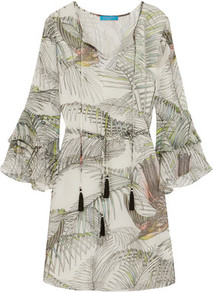 Ruffled Printed Silk Dress Off White - style: shift; length: mid thigh; neckline: v-neck; predominant colour: light grey; occasions: casual; fit: body skimming; fibres: silk - 100%; sleeve length: long sleeve; sleeve style: standard; pattern type: fabric; pattern: patterned/print; texture group: woven light midweight; season: a/w 2016; wardrobe: highlight