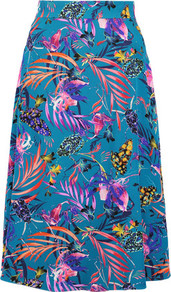 Floral Print Silk Crepe Midi Skirt Petrol - length: below the knee; fit: loose/voluminous; waist: high rise; predominant colour: turquoise; style: a-line; fibres: silk - 100%; texture group: crepes; pattern type: fabric; pattern: florals; occasions: creative work; pattern size: big & busy (bottom); multicoloured: multicoloured; season: a/w 2016; wardrobe: highlight