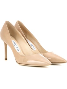 Romy 85 Patent Leather Pumps - predominant colour: nude; occasions: evening, occasion, creative work; material: leather; heel height: high; heel: stiletto; toe: pointed toe; style: courts; finish: patent; pattern: plain; wardrobe: investment; season: a/w 2016