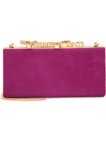 Celeste Crystal Embellished Suede Clutch - predominant colour: hot pink; secondary colour: gold; occasions: evening, occasion; type of pattern: standard; style: clutch; length: hand carry; size: small; material: suede; pattern: plain; finish: plain; season: a/w 2016; wardrobe: event