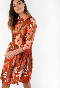 Printed Smock Dress - style: smock; length: mid thigh; fit: loose; secondary colour: bright orange; predominant colour: tan; occasions: casual; fibres: polyester/polyamide - 100%; neckline: crew; sleeve length: 3/4 length; sleeve style: standard; texture group: crepes; pattern type: fabric; pattern size: big & busy; pattern: florals; season: a/w 2016; wardrobe: highlight