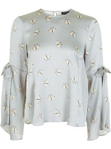 Moth Print Tie Sleeve Top - sleeve style: dolman/batwing; secondary colour: ivory/cream; predominant colour: light grey; occasions: casual, evening, creative work; length: standard; style: top; fibres: polyester/polyamide - 100%; fit: loose; neckline: crew; sleeve length: long sleeve; texture group: silky - light; pattern type: fabric; pattern size: standard; pattern: patterned/print; season: a/w 2016; wardrobe: highlight; trends: statement sleeves, structural; embellishment location: shoulder