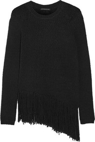 Hudina Fringed Stretch Merino Wool Blend Sweater Black - pattern: plain; length: below the bottom; style: standard; predominant colour: black; occasions: casual, creative work; fibres: wool - mix; fit: loose; neckline: crew; sleeve length: long sleeve; sleeve style: standard; texture group: knits/crochet; pattern type: knitted - other; wardrobe: basic; season: a/w 2016
