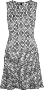 Cotton Blend Jacquard Mini Dress Midnight Blue - sleeve style: sleeveless; predominant colour: light grey; occasions: evening; length: just above the knee; fit: fitted at waist & bust; style: fit & flare; fibres: cotton - mix; neckline: crew; sleeve length: sleeveless; pattern type: fabric; pattern: patterned/print; texture group: brocade/jacquard; season: a/w 2016; wardrobe: event