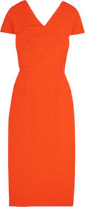 Dunmore Crepe Paneled Matelassé Dress Tomato Red - style: shift; neckline: v-neck; pattern: plain; predominant colour: bright orange; occasions: evening; length: on the knee; fit: straight cut; fibres: polyester/polyamide - stretch; sleeve length: short sleeve; sleeve style: standard; texture group: crepes; pattern type: fabric; season: a/w 2016; wardrobe: event