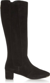 Ireland Suede Knee Boots Black - predominant colour: black; occasions: casual, work, creative work; material: suede; heel height: mid; heel: block; toe: pointed toe; boot length: knee; style: standard; finish: plain; pattern: plain; wardrobe: investment; season: a/w 2016