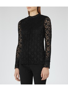 Alexa Womens Plisse Lace Top In Black - pattern: plain; predominant colour: black; occasions: casual, evening, creative work; length: standard; style: top; fibres: polyester/polyamide - 100%; fit: body skimming; neckline: crew; sleeve length: long sleeve; sleeve style: standard; texture group: lace; pattern type: fabric; embellishment: lace; pattern size: big & busy (top); season: a/w 2016; wardrobe: highlight