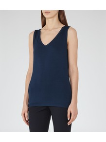 Ona Womens V Neck Tank Top In Blue - neckline: low v-neck; sleeve style: standard vest straps/shoulder straps; pattern: plain; predominant colour: navy; occasions: casual, creative work; length: standard; style: top; fibres: viscose/rayon - stretch; fit: body skimming; sleeve length: sleeveless; pattern type: fabric; texture group: jersey - stretchy/drapey; wardrobe: basic; season: a/w 2016
