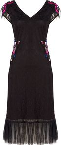 Lace Dress With Purple Detail, Black - style: shift; neckline: v-neck; sleeve style: capped; secondary colour: hot pink; predominant colour: black; occasions: evening; length: on the knee; fit: straight cut; fibres: polyester/polyamide - 100%; sleeve length: short sleeve; texture group: lace; pattern type: fabric; pattern: patterned/print; embellishment: embroidered; multicoloured: multicoloured; season: a/w 2016; wardrobe: event