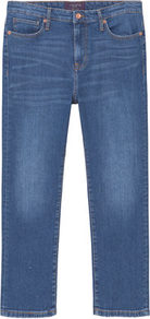 Crop Slim Fit Madie Jeans - pattern: plain; pocket detail: traditional 5 pocket; style: slim leg; waist: mid/regular rise; predominant colour: denim; occasions: casual; length: calf length; fibres: cotton - stretch; jeans detail: shading down centre of thigh, washed/faded; texture group: denim; pattern type: fabric; wardrobe: basic; season: a/w 2016