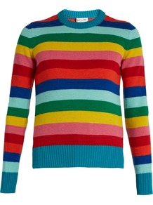 Striped Wool Sweater - pattern: horizontal stripes; back detail: low cut/open back; style: standard; secondary colour: true red; predominant colour: turquoise; occasions: casual; length: standard; fibres: wool - 100%; fit: standard fit; neckline: crew; sleeve length: long sleeve; sleeve style: standard; texture group: knits/crochet; pattern type: knitted - fine stitch; multicoloured: multicoloured; season: a/w 2016; wardrobe: highlight