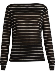 Striped Cashmere Sweater - neckline: slash/boat neckline; pattern: horizontal stripes; style: standard; predominant colour: black; occasions: casual, work, creative work; length: standard; fit: standard fit; fibres: cashmere - 100%; sleeve length: long sleeve; sleeve style: standard; texture group: knits/crochet; pattern type: knitted - fine stitch; pattern size: big & busy (top); season: a/w 2016; wardrobe: highlight