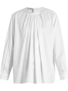 Gathered Cotton Blouse - neckline: round neck; pattern: plain; style: blouse; bust detail: ruching/gathering/draping/layers/pintuck pleats at bust; predominant colour: white; occasions: casual, creative work; length: standard; fibres: cotton - 100%; fit: loose; sleeve length: long sleeve; sleeve style: standard; texture group: cotton feel fabrics; pattern type: fabric; wardrobe: basic; season: a/w 2016