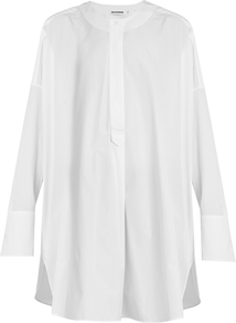 Cassiopea Oversized Cotton Shirt - pattern: plain; style: shirt; predominant colour: white; occasions: casual, creative work; neckline: collarstand; fibres: cotton - 100%; fit: loose; length: mid thigh; sleeve length: long sleeve; sleeve style: standard; texture group: cotton feel fabrics; pattern type: fabric; wardrobe: basic; season: a/w 2016
