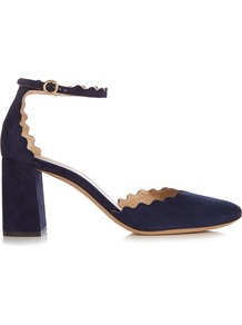 Lauren Scallop Edged Block Heel Suede Sandals - predominant colour: navy; occasions: evening, creative work; material: suede; heel height: high; ankle detail: ankle strap; heel: block; toe: round toe; style: courts; finish: plain; pattern: plain; wardrobe: investment; season: a/w 2016