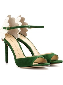 Marge 100 Embellished Suede Sandals - secondary colour: white; predominant colour: emerald green; occasions: evening, occasion; material: suede; heel height: high; ankle detail: ankle strap; heel: stiletto; toe: open toe/peeptoe; style: standard; finish: plain; pattern: colourblock; season: a/w 2016; wardrobe: event