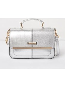 Mini Satchel - predominant colour: silver; secondary colour: gold; type of pattern: standard; style: satchel; length: handle; size: mini; material: faux leather; pattern: plain; finish: metallic; occasions: creative work; season: a/w 2016; wardrobe: highlight