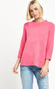 Cropped Pocket Jumper - pattern: plain; style: standard; predominant colour: hot pink; occasions: casual, creative work; length: standard; fibres: cotton - mix; fit: loose; neckline: crew; sleeve length: 3/4 length; sleeve style: standard; texture group: knits/crochet; pattern type: knitted - other; season: a/w 2016; wardrobe: highlight