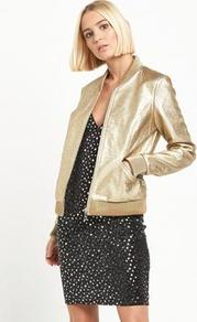 Gold Pu Bomber Jacket - pattern: plain; collar: round collar/collarless; style: bomber; predominant colour: gold; occasions: evening; length: standard; fit: straight cut (boxy); sleeve length: long sleeve; sleeve style: standard; texture group: leather; collar break: high; pattern type: fabric; fibres: pvc/polyurethene - 100%; season: a/w 2016; wardrobe: event