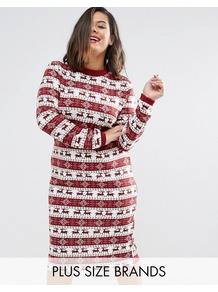 Plus Fairisle Long Sleeve Ribbed Christmas Dress Red - style: jumper dress; secondary colour: white; predominant colour: burgundy; occasions: casual; length: on the knee; fit: body skimming; fibres: polyester/polyamide - stretch; neckline: crew; pattern: fairisle; sleeve length: long sleeve; sleeve style: standard; texture group: jersey - clingy; pattern type: fabric; pattern size: standard; season: a/w 2016; wardrobe: highlight; trends: festive knits