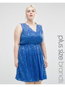 Plus Lace Skater Dress Blue - length: mid thigh; neckline: v-neck; sleeve style: sleeveless; waist detail: fitted waist; predominant colour: royal blue; occasions: evening, occasion; fit: fitted at waist & bust; style: fit & flare; fibres: polyester/polyamide - 100%; hip detail: soft pleats at hip/draping at hip/flared at hip; sleeve length: sleeveless; texture group: lace; pattern type: fabric; pattern size: standard; pattern: patterned/print; season: a/w 2016; wardrobe: event