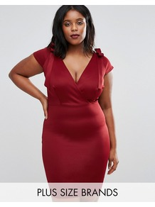 Plus Midi Dress With Tie Shoulder Berry - style: shift; neckline: low v-neck; sleeve style: capped; pattern: plain; occasions: evening; length: on the knee; fit: body skimming; fibres: polyester/polyamide - stretch; sleeve length: short sleeve; pattern type: fabric; texture group: jersey - stretchy/drapey; predominant colour: raspberry; season: a/w 2016; wardrobe: event