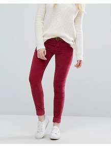 Super Skinny Cord Jeans Rose - style: skinny leg; length: standard; pattern: plain; pocket detail: traditional 5 pocket; waist: mid/regular rise; predominant colour: burgundy; occasions: casual; fibres: cotton - stretch; texture group: corduroy; pattern type: fabric; season: a/w 2016; wardrobe: highlight