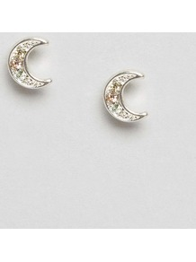 Silver Plated Crescent Earrings Silver - predominant colour: silver; occasions: evening, occasion; style: stud; length: short; size: small/fine; material: chain/metal; fastening: pierced; finish: metallic; embellishment: crystals/glass; season: a/w 2016; wardrobe: event