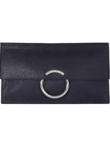 O Ring Clutch Bag - predominant colour: navy; occasions: evening, occasion; type of pattern: standard; style: clutch; length: hand carry; size: standard; material: leather; pattern: plain; finish: plain; season: a/w 2016; wardrobe: event