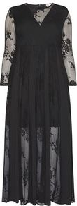 Babydoll Dress - neckline: round neck; fit: loose; style: maxi dress; length: ankle length; predominant colour: black; occasions: evening; fibres: polyester/polyamide - stretch; hip detail: soft pleats at hip/draping at hip/flared at hip; sleeve length: long sleeve; sleeve style: standard; pattern type: fabric; pattern size: standard; pattern: patterned/print; texture group: jersey - stretchy/drapey; season: a/w 2016; wardrobe: event