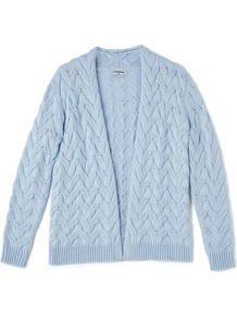 Chunky Cable Cardi, Blue - pattern: plain; neckline: collarless open; style: open front; predominant colour: pale blue; occasions: casual; length: standard; fibres: cotton - 100%; fit: standard fit; sleeve length: long sleeve; sleeve style: standard; texture group: knits/crochet; pattern type: knitted - fine stitch; season: a/w 2016; wardrobe: highlight