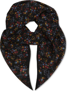 Floral Silk Scarf, Women's, Black Multi - predominant colour: black; occasions: casual; type of pattern: heavy; style: square; size: standard; material: silk; pattern: patterned/print; multicoloured: multicoloured; season: a/w 2016; wardrobe: highlight