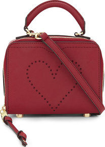 Love Perforated Leather Cross Body Bag, Women's, Deep Red - predominant colour: true red; occasions: casual, creative work; type of pattern: standard; style: structured bag; length: handle; size: small; material: leather; pattern: plain; finish: plain; season: a/w 2016; wardrobe: highlight