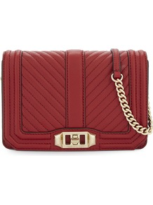 Love Leather Cross Body Bag, Women's, Deep Red - predominant colour: true red; secondary colour: gold; occasions: evening, occasion; type of pattern: standard; style: clutch; length: across body/long; size: standard; material: leather; pattern: plain; finish: plain; embellishment: chain/metal; season: a/w 2016; wardrobe: event