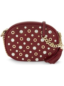 Ginny Studded Medium Leather Cross Body, Women's, Red - predominant colour: burgundy; secondary colour: gold; occasions: casual; type of pattern: standard; style: messenger; length: across body/long; size: small; material: leather; embellishment: studs; pattern: plain; finish: plain; season: a/w 2016; wardrobe: highlight; trends: sparkle