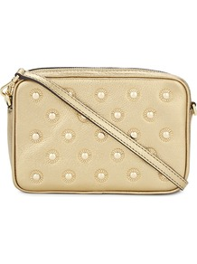 Studded Leather Cross Body Bag, Women's, Cream - predominant colour: ivory/cream; secondary colour: gold; occasions: casual, creative work; type of pattern: standard; style: messenger; length: across body/long; size: small; material: leather; embellishment: studs; pattern: plain; finish: plain; season: a/w 2016; wardrobe: highlight; trends: metallics